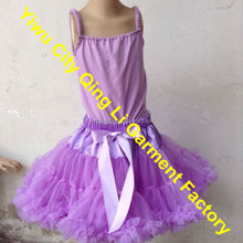 Wholesale Kids Girls Fluffy Skirt With Cotton Tank Top Bithday Party Summer Pettiskirt Pink Set For Infant