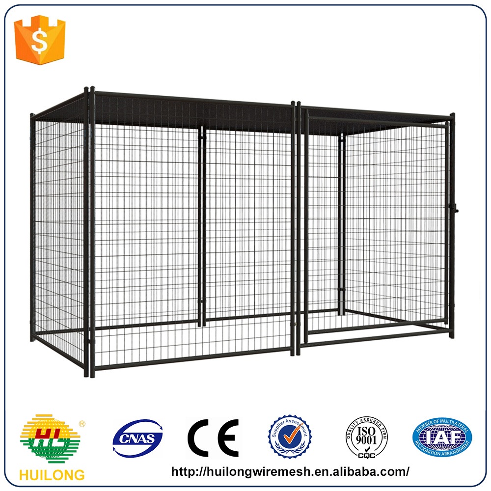Modular Welded Wire Dog Kennel with Cover Galvanized Silver
