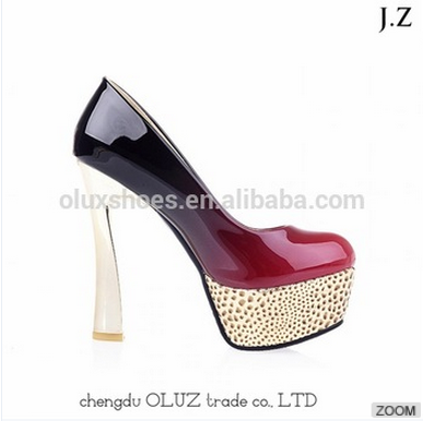 OP22 leopard 2cm platform high heels evening dress shoes for women collection