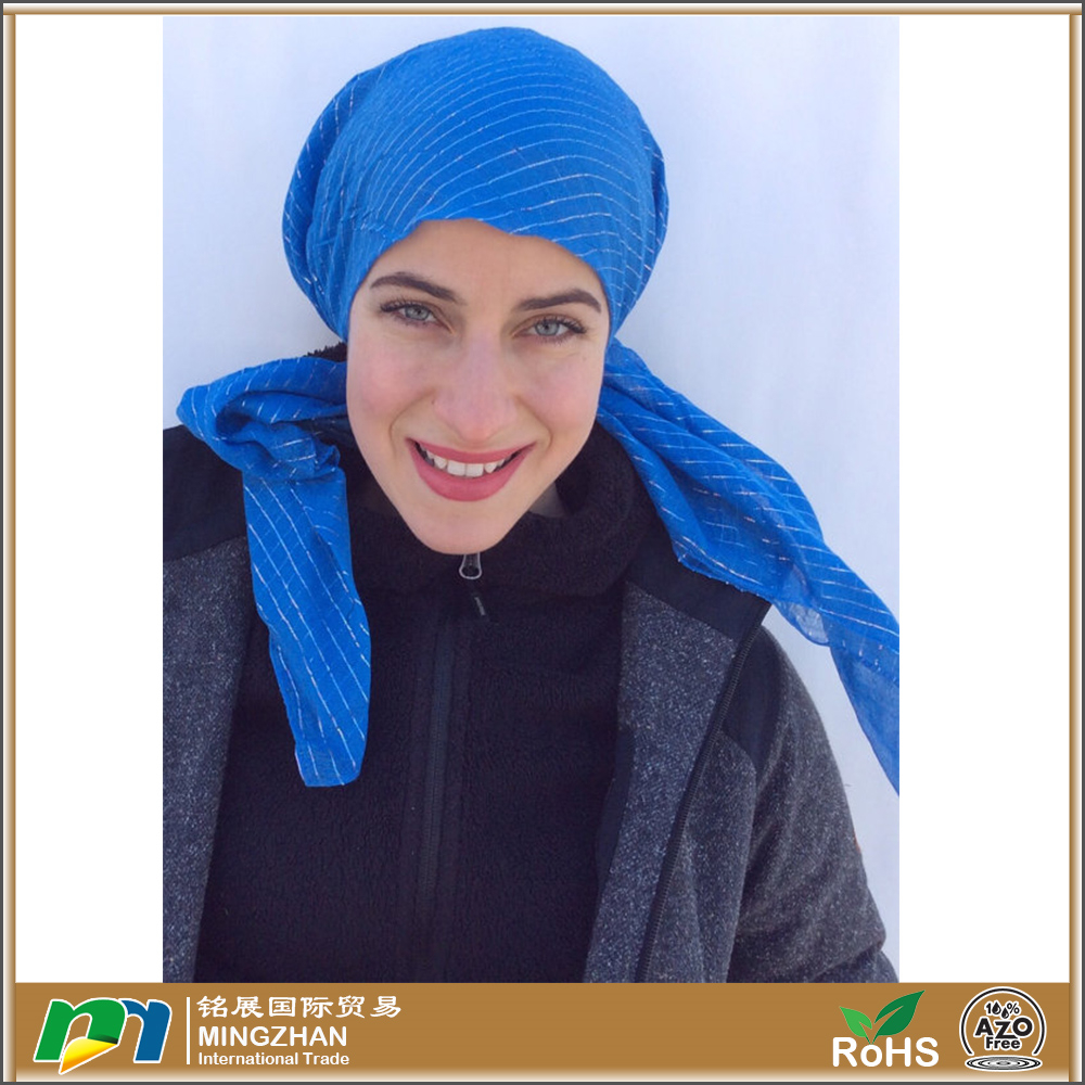 African Blue Jersey Cotton Pre Tied Head Scarf With Lurex Lines