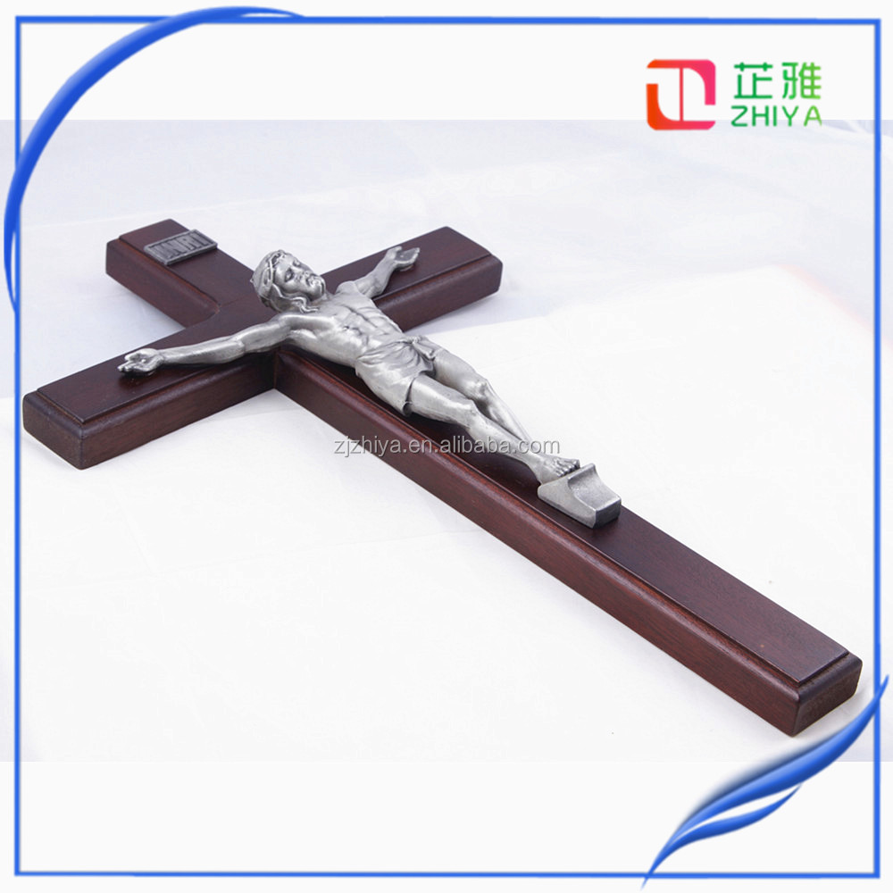 catholic yiwu metal crafts crucifix crosses wood craft