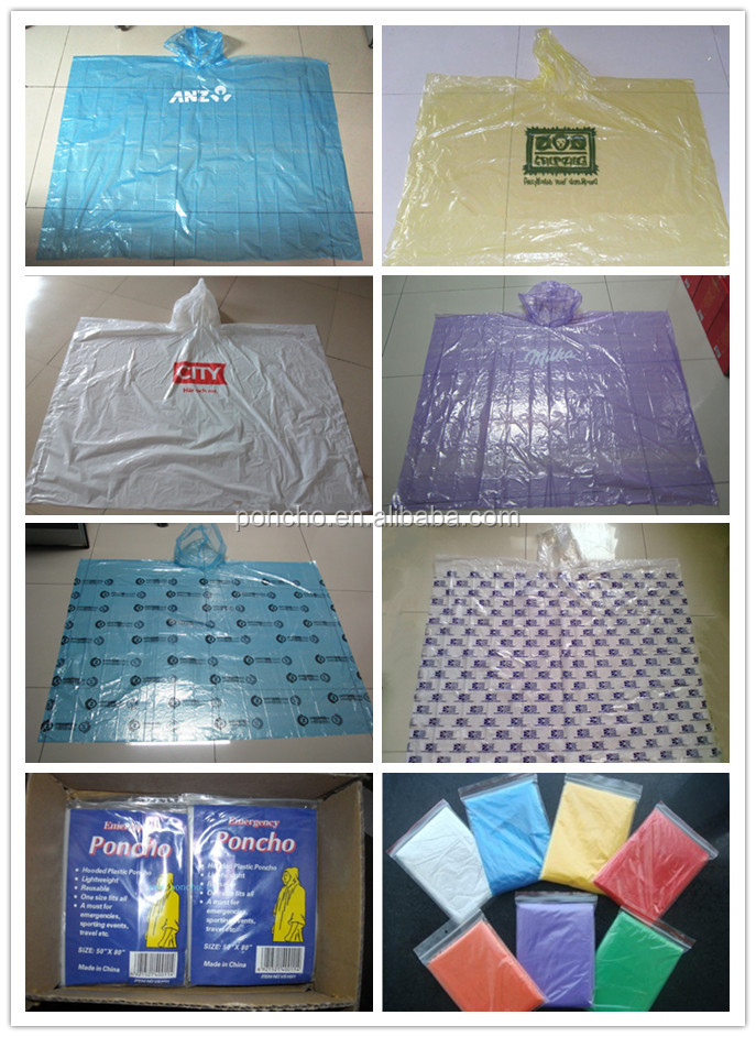 Wholesale Portable Custom Printed Raincoat Disposable Rain Poncho