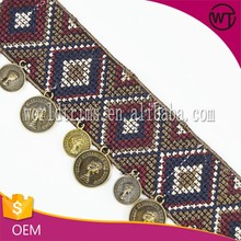 Vintage embroidery patterns ethnic coin lace trim for decoration