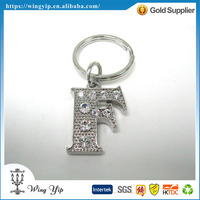 Custom made good quality Letter F with Crystal Zinc alloy metal Gift Key Ring