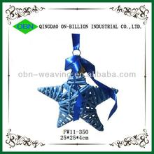 Woven wicker star decoration with bells