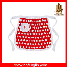 Wholesale Dot Printed Red Half Apron Cotton Waist Kitchen Apron With Pocket