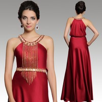 High quality fashion Halter neck sleeveless red bridesmaid dresses long