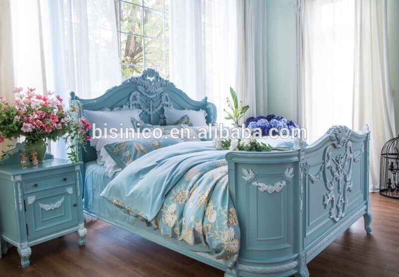 French Provincial Princess Bedroom Furniture/European Victorian Hand Carved Wooden King Size Bed/Royal Wedding Solid Wood Bed