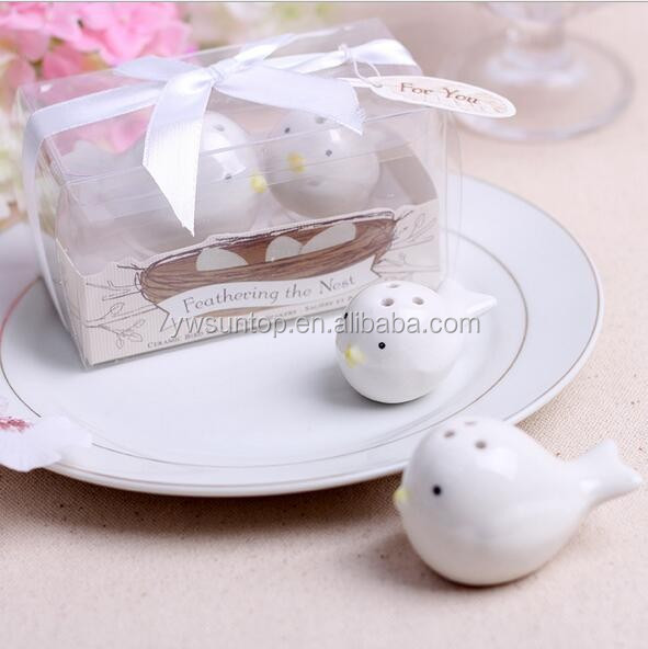 Feathering the Nest Ceramic Love Birds Salt Pepper Shakers Wedding Favors