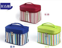 fashion stripe printed 600D vanity cosmetic lunch cooler bag