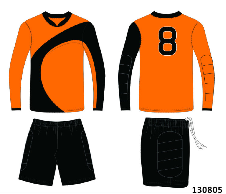 orange goalkeeper jersey,goalkeerper padded short,black gk short