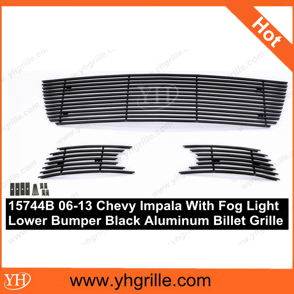 auto grille fits 2006-2013 Chevy Impala With Fog Light Lower Bumper Black Aluminum Billet Grille