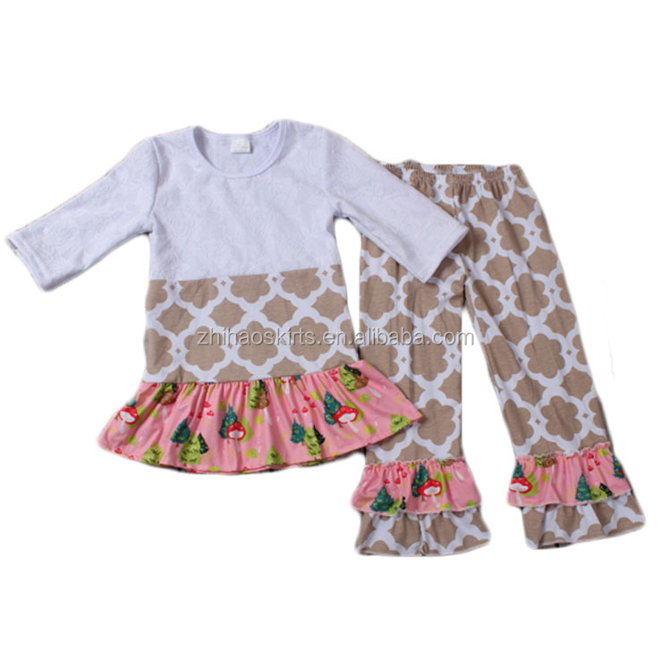new arrival fall half sleeve floral ruffle top match grey quatrefoil pant set import baby clothes