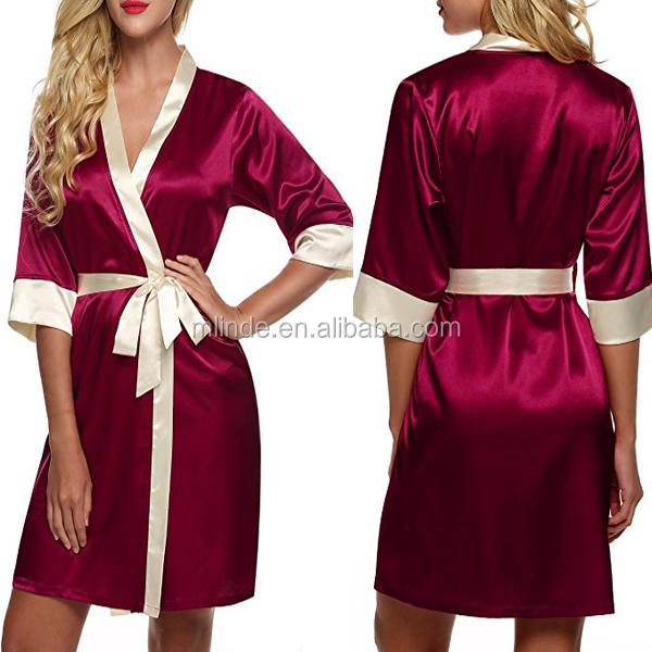 Women's Kimono Robe Wholesale Fashion Sexy Soft Clothing Pajamas Robes Silk Knee Length Lingerie Sleepwear Short Satin XS-XL