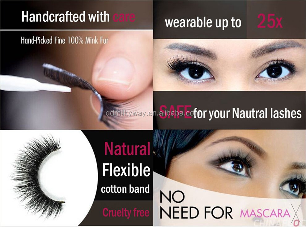 To transparent band Handmade wholesale private label 3d silk synthetic eyelashes