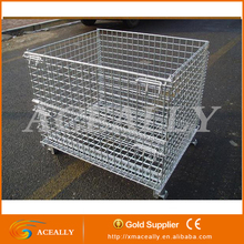 Wire Mesh Steel collapsible metal box feed storage containers / Most popular Foldable Wire Container/Wire Box/