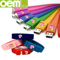 fashion custom silicone usb slap bracelet