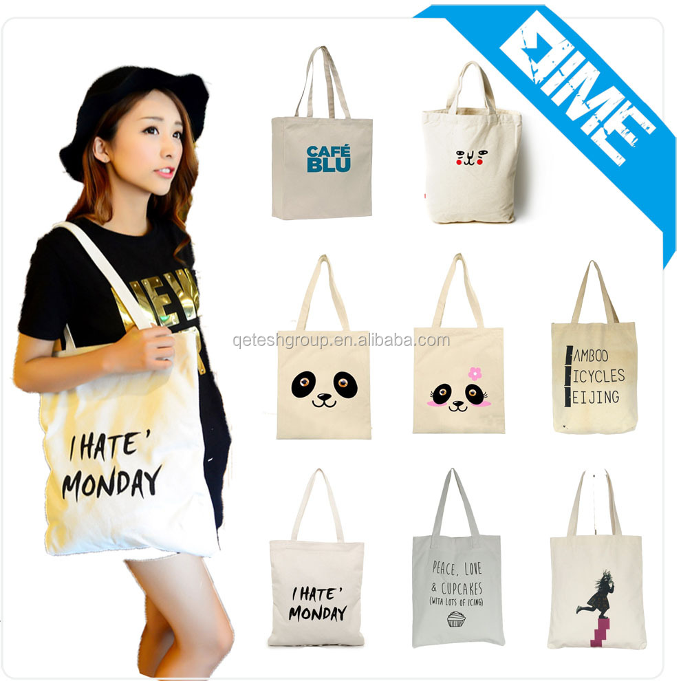 Customized Recyclable Promotional Natural Canvas Cotton ECO Tote Bags For Woman