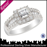 Wholesale Geometric Rhodium Plated CZ Diamond Ring 925 Silver Jewelry Supplier