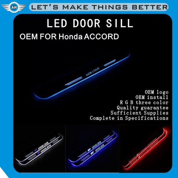 LED light stainless Auto Accessories Jade /car welcome pedal sill plate/ scuff plate/LED Door sill for CIVIC