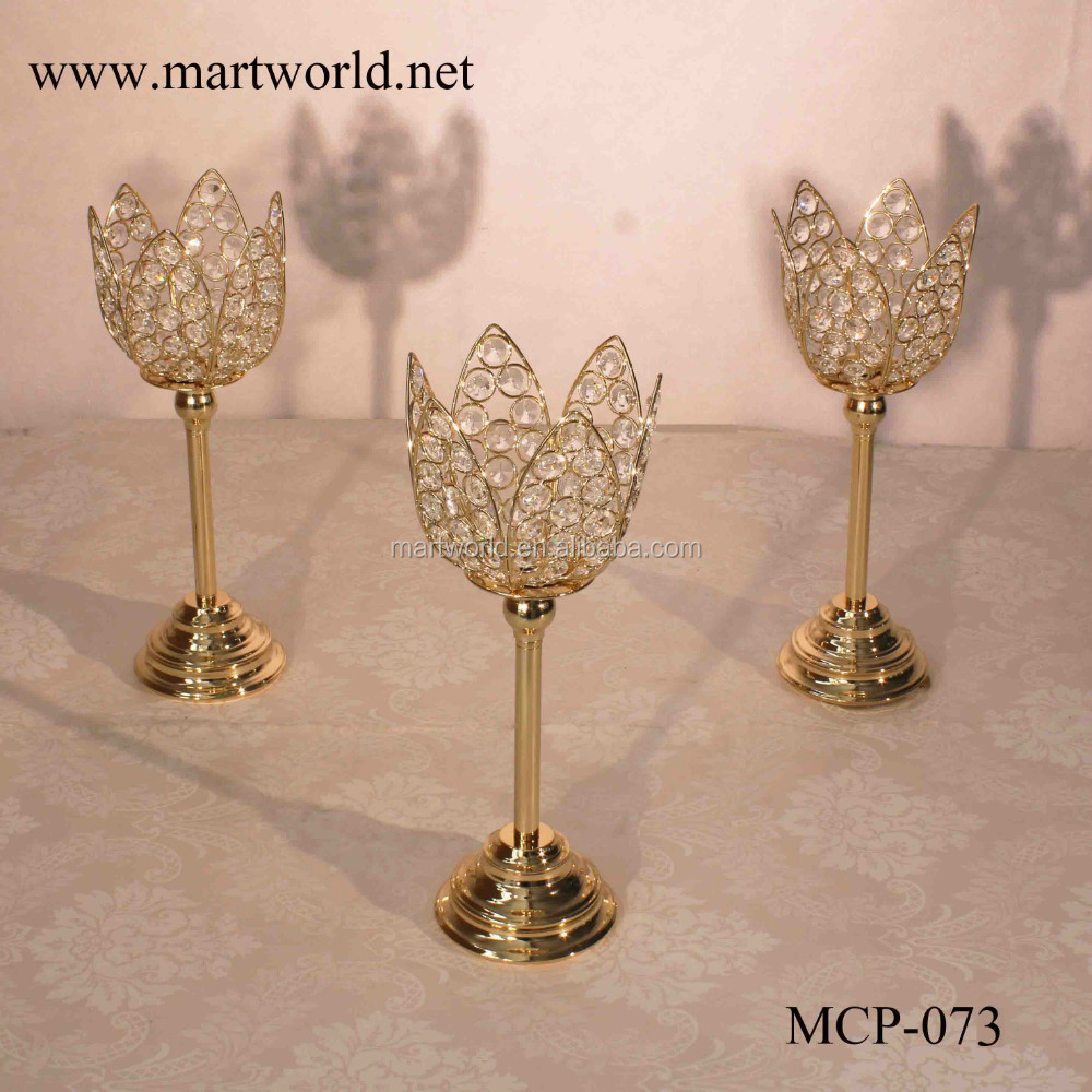 2017 New crystal champagne gold lotus crystal candle holder candelabra weddings decorations wedding table centerpieces(MCP-073)