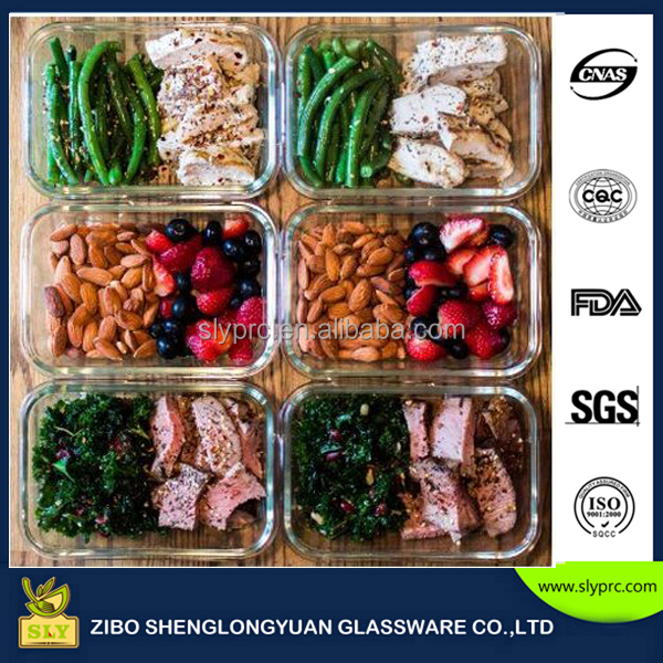 Premium Glass Meal Prep Food Storage Container 6-Piece Set with Snap Locking Lid, BPA-Free, Leakproof, Microwave safe