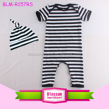 Top 100 Baby Boy Names Image Monogram Blank Baby Boy Clothes Romper Black White Stripes One Piece Overall Shortall Baby Boy