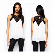 2015 Hot Selling Lace Panel Round Neckline Fashion Sleeveles Chiffon Ladies Blouse