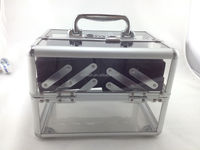 Clear Compartment Case Aluminium Frame Acrylic Cosmetics Storage Box