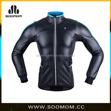 2016 New Durable Cool Style Design Use High End Fabric Customize Thermal Windproof Shiny Black Winter Cycling Thick Jacket