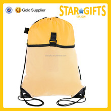 2015 New syle cheap custom men yellow fashion drawstring backpack