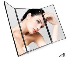 Plastic Travel Tri fold Lighted Foldable Makeup Mirror With 8 Led Portable Trifold Wholesale