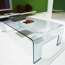N783 Tempered Round Lines Glass Table, Real Transparent Bent Glass Coffee Table