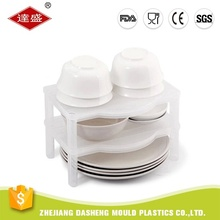 High quality square plate plastic kitchen double cabinet collapsible 3 tier dish rack