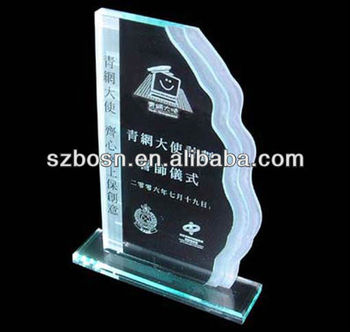 Wave edge acrylic trophy medal Perspex block Acrylic award