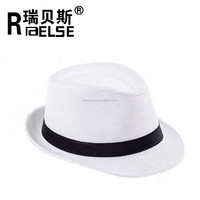 cheap wholesale plain white panama hat unisex men women paper straw fedora hat