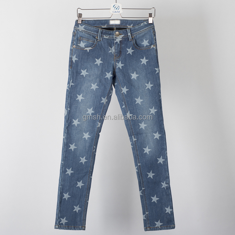 Fashionable high quality star print denim jean pants casual women jeans