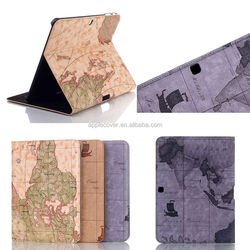 Good products Retro map design smart cover for samsung galaxy tab4 10.1'' t530 , flip case for Samsung Galaxy Tab 4 10.1