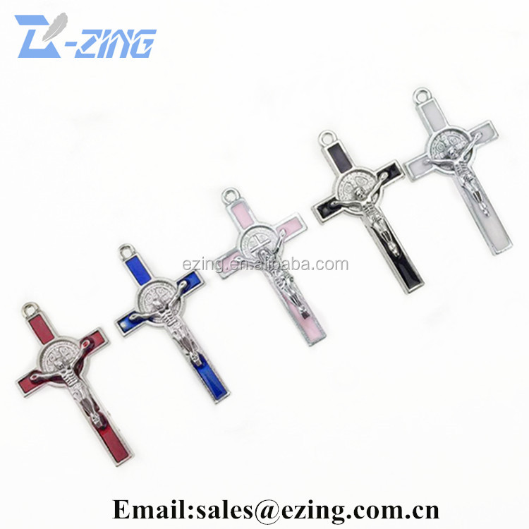 Wholesale religious pendant alloy cross, catholic crucifix, religious item metal charm cross crucifix with bright candy colors