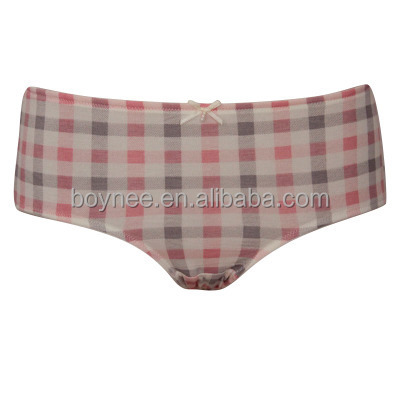 Cotton grid print panties for woman, young ladies boyshorts