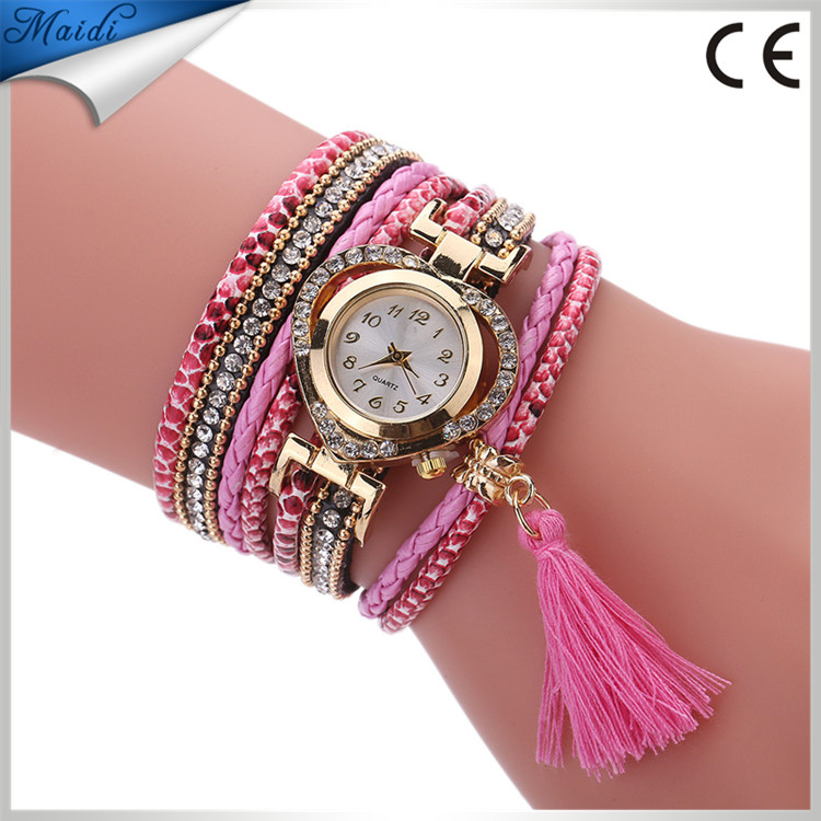 Brand Fashion Leather Bracelet Heart Watch Women Luxury Full Crystal Quartz Wristwatch Relogio Feminino WW087