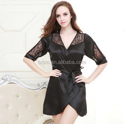 black color short sleeve 100% sexy silk nightgown women wholesale china