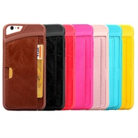 for iphone 6/6 plus case freely CUSTOMIZABLE pc or tpu back cover with leather card holding and stand case