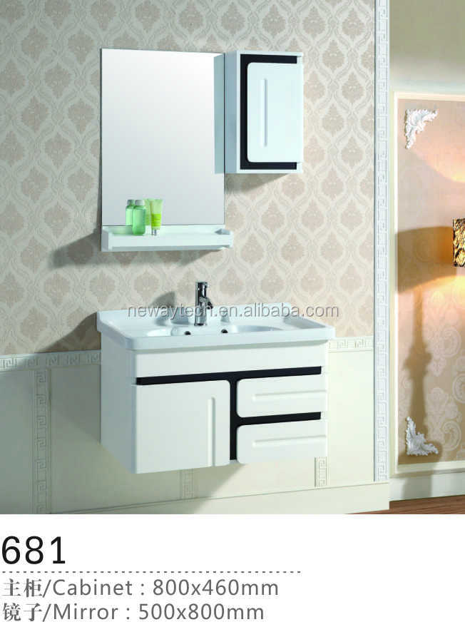 Wall mounted pvc high gloss vanity combo/small designed bathroom cabinet