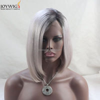 Fashion Style12 inch 150 density beyonce lace front wig, 4 inch hand tied grey ombre human hair bob lace wig
