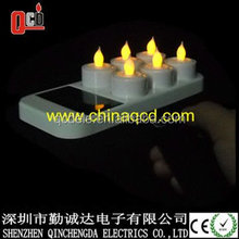 Solar rechargeable led tea light candles set of 6 yellow flickering CE&ROHS