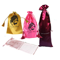 satin black hair extension bag with drawstring for hair packaging