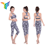 China factory hot sale swirl shape yoga wear set black and white color yoga wear wholesale