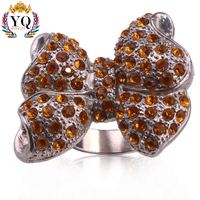 RYQ-00088 2017 cheap wholesale fashion antique silver Bow design alloy with yellow crystal women ring accessory