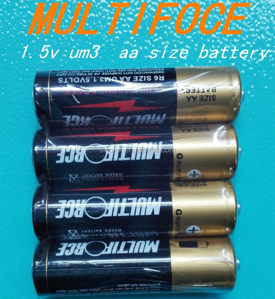 4 PACK multiforce Shrink Wrap 1.5v um3 battery aa size battery FOR torch light